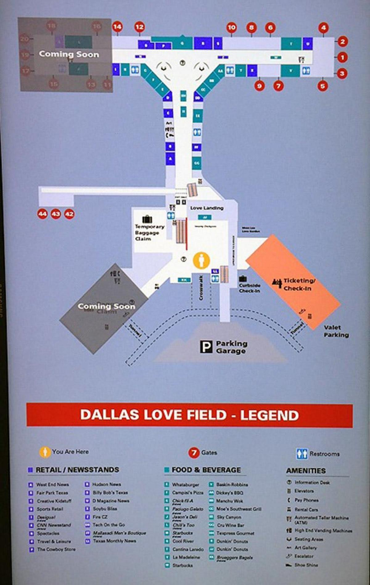 Dallas Love Field Map Aeropuerto De Dallas Love Field